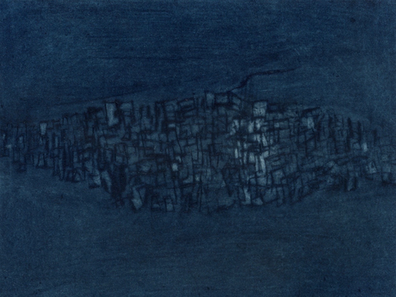 Floating City (Dark blue), Mezzotint and drypoint on paper, 8.5 x 11.5 cm, 2008