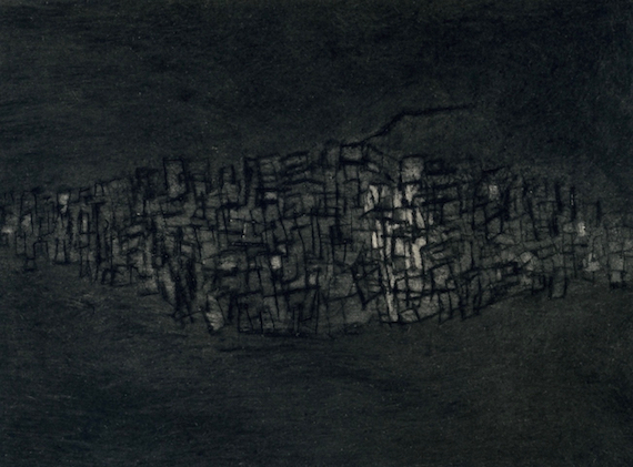 Floating City (Light black), Mezzotint and drypoint on paper, 8.5 x 11.5 cm, 2008