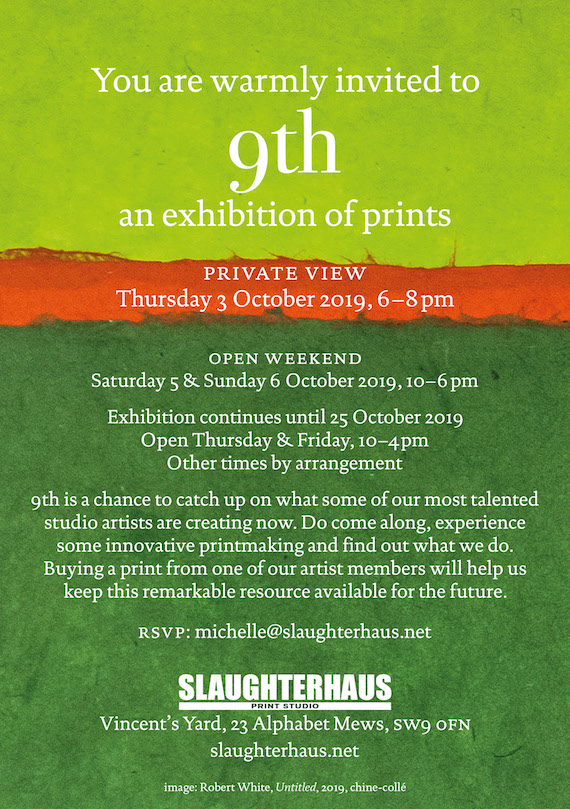 SLAUGHTERHAUS 9th Exhibition, 5&6 October 2019